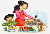 Illustration of woman and boy cooking together