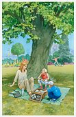 Illustration of woman and two children sitting on picnic blanket in urban park