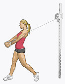 Illustration of woman performing cable woodchop exercise