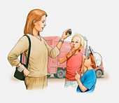 Illustration of woman showing a battery to two children, garbage truck in the background