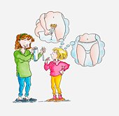 Illustration of woman showing tampon and sanitary pad to girl, thought bubbles above girl's head visualising the use of both