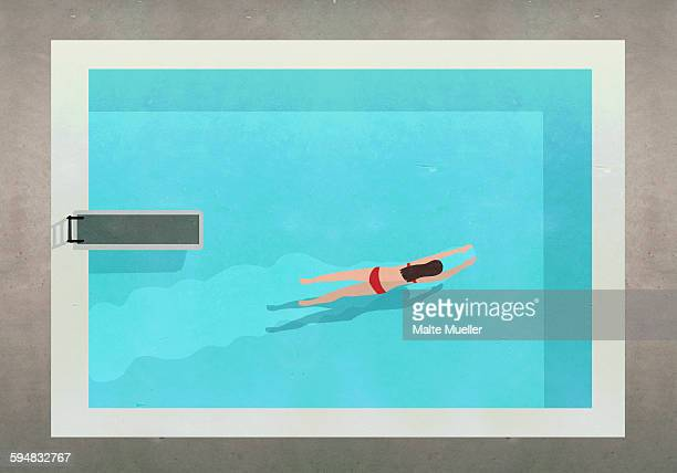 Illustration of woman swimming in pool at resort