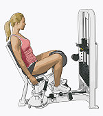 Illustration of woman using hip abductor with kneepads and dual foot rest