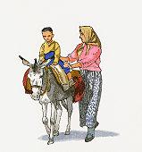 Illustration of woman walking with child riding donkey in Western Anatolia