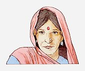 Illustration of woman wearing headscarf and bindi on her forehead
