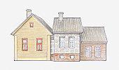 Illustration of wooden house settlements that mark the lakeshore of Lake Peipsi in Eastern Estonia