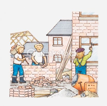 Illustration Of Workers At Building Site Stock