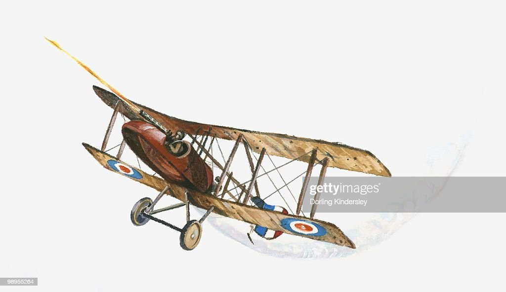 Illustration of World War One British pilot firing machine gun from Sopwith Camel aeroplane in mid-air : Stock Illustration