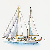 Illustration of yacht at sea