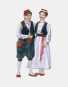 Illustration of young man and women wearing traditional clothing from Dubrovnik region of Slovenia