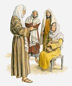 Illustration of Zechariah standing in front of a seated Elizabeth who is holding her baby, and writing on tablet because he is still unable to speak