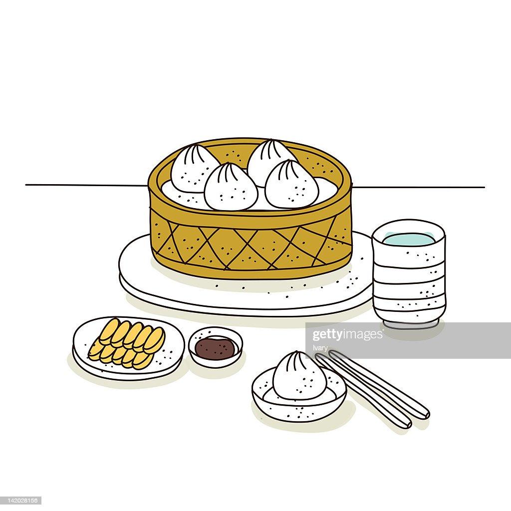 Illustration on platter of momos : Stock Illustration