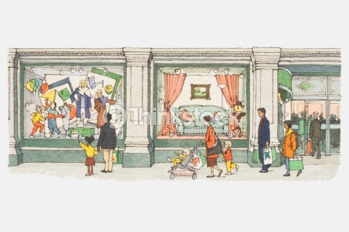 Illustration people walking past windows of department for Department stores that sell furniture