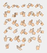Illustration showing 26 sign language hand signals representing letters of the alphabet