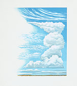 Illustration showing relative altitudes of clouds
