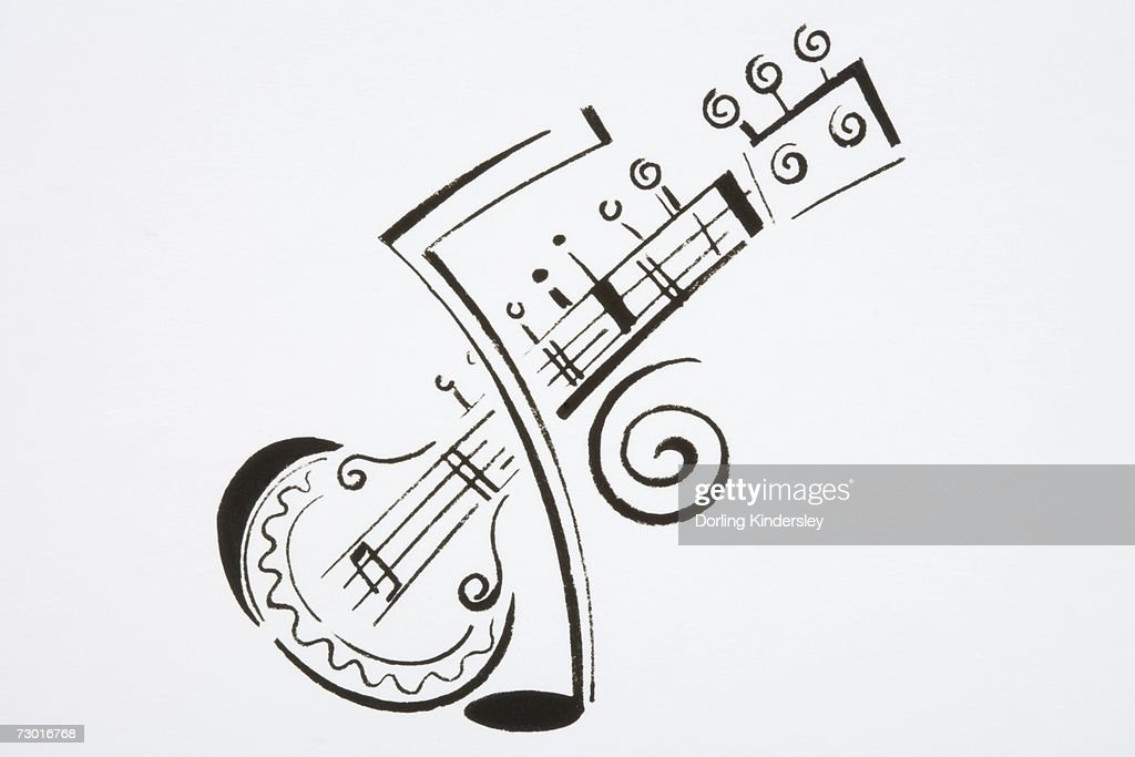 Illustration, sitar and musical note. : Stock Illustration