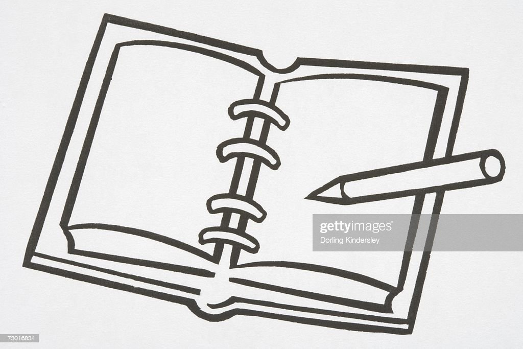 Illustration, spiral notebook, pen lying on open page. : Stock Illustration