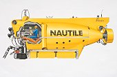Illustration, the Nautile, yellow manned submersible owned by French Research Institute for Exploitation of the Sea, side view.
