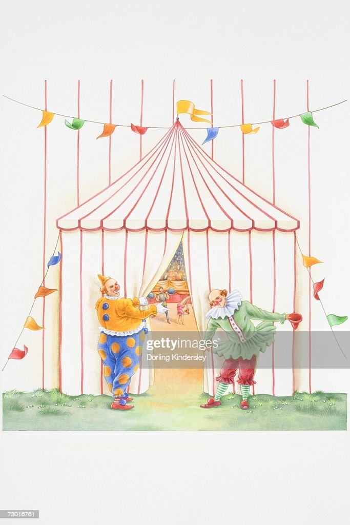 Illustration, two clowns holding back curtain in entrance to circus tent with inviting gestures, revealing acrobats performing in ring inside and audience in background, front view. : Stock Illustration