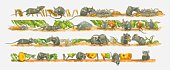 Illustrations of field mice with wheat ears, leaves, flowers, seeds, and nests