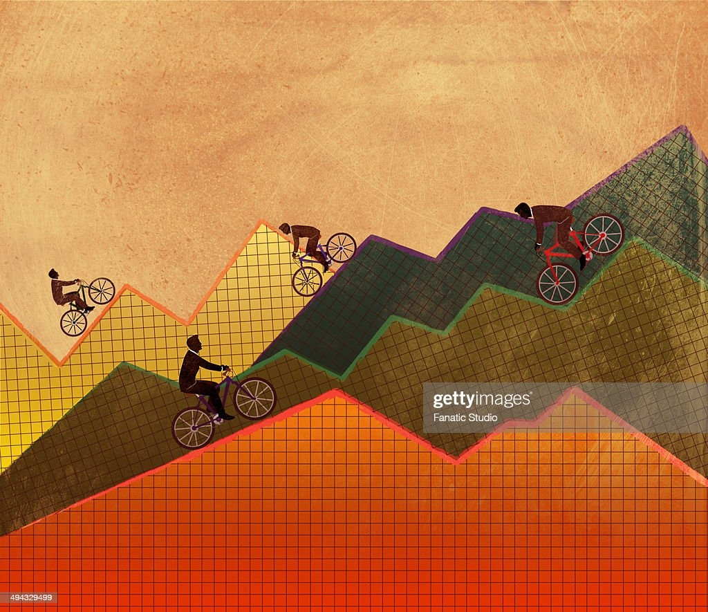 Illustrative concept of business people riding bicycle on graphs representing ups and downs of business : Stock Illustration