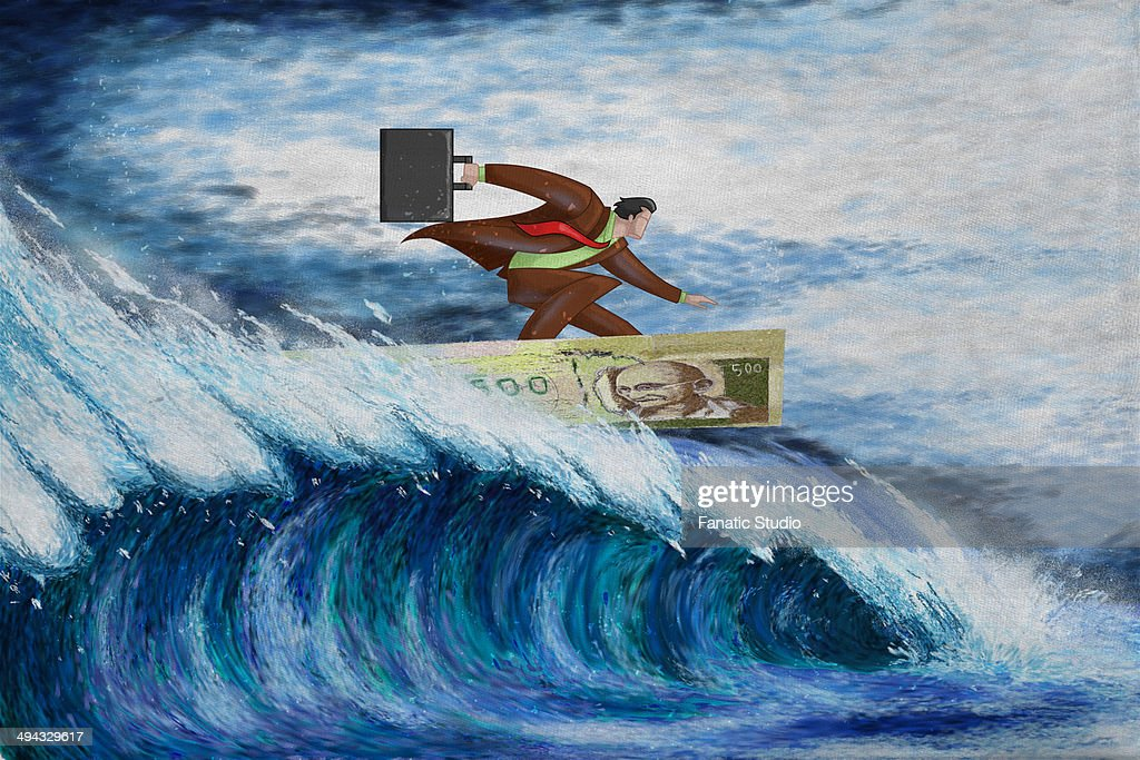 Illustrative image of businessman surfing on note representing conquering adversity : Stock Illustration