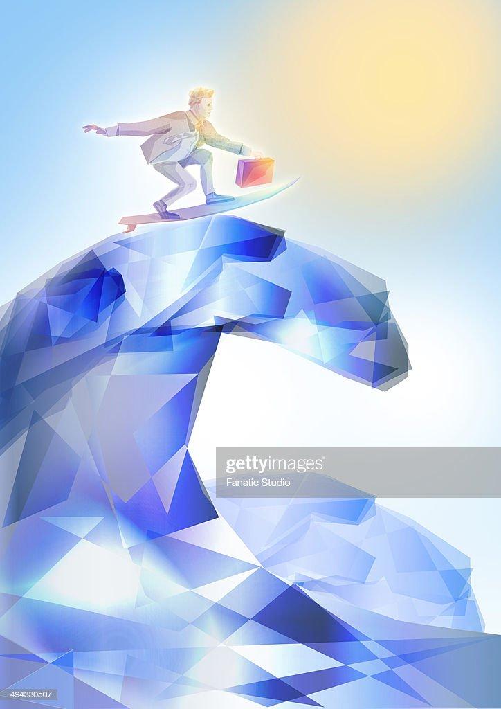 Illustrative image of businessman surfing represents conquering adversity : Stock Illustration