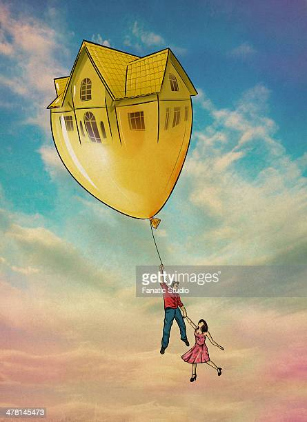 Illustrative image of couple flying with house shaped balloon representing inflation