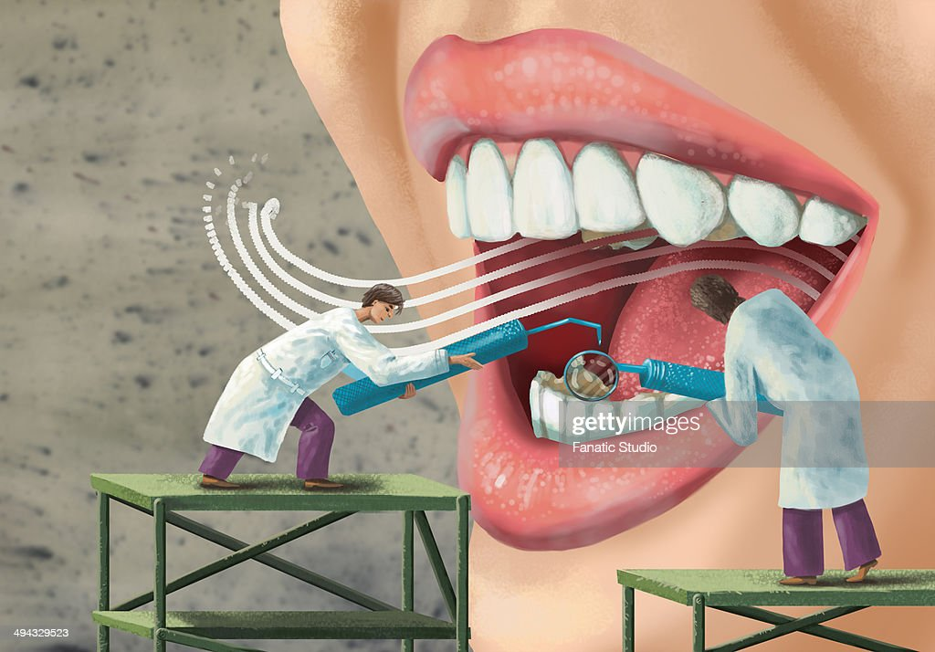 Illustrative image of dentists examining patient's mouth : Stock Illustration