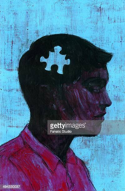 Illustrative image of man with missing piece of jigsaw representing memory loss