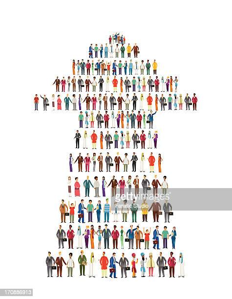 Illustrative image of people standing in arrow shape representing development and teamwork over white background
