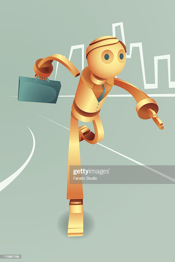 Illustrative image of robotic businessman with briefcase running in haste representing urgency and goal : Vector Art