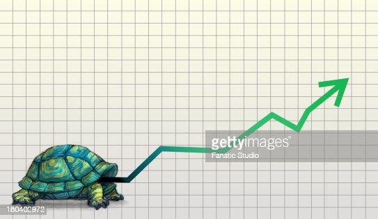 Illustrative image of tortoise with line graph representing slow and steady business growth : Stock Illustration