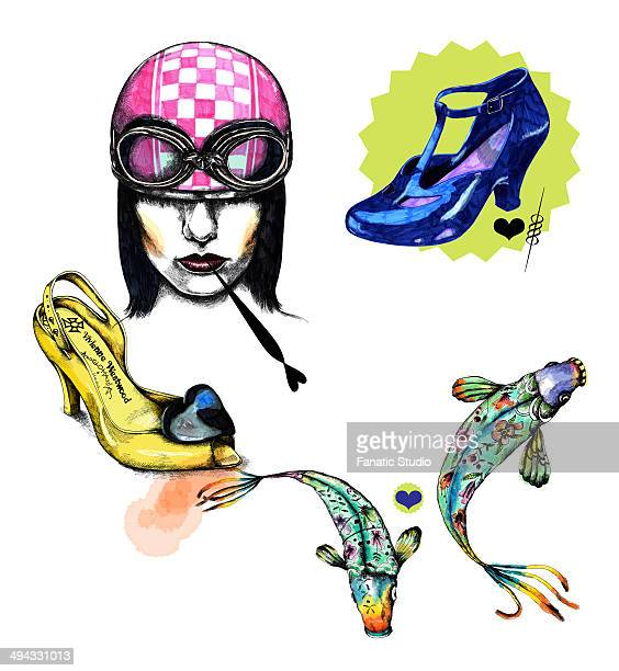 Illustrative image of woman with shoes and fish representing Pisces sign