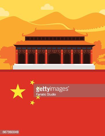 Illustrative representation of chinese pagoda and chinese flag
