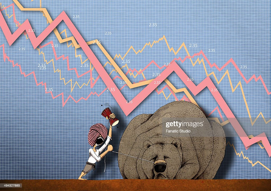Illustrative representation showing stock market crash : Stock Illustration
