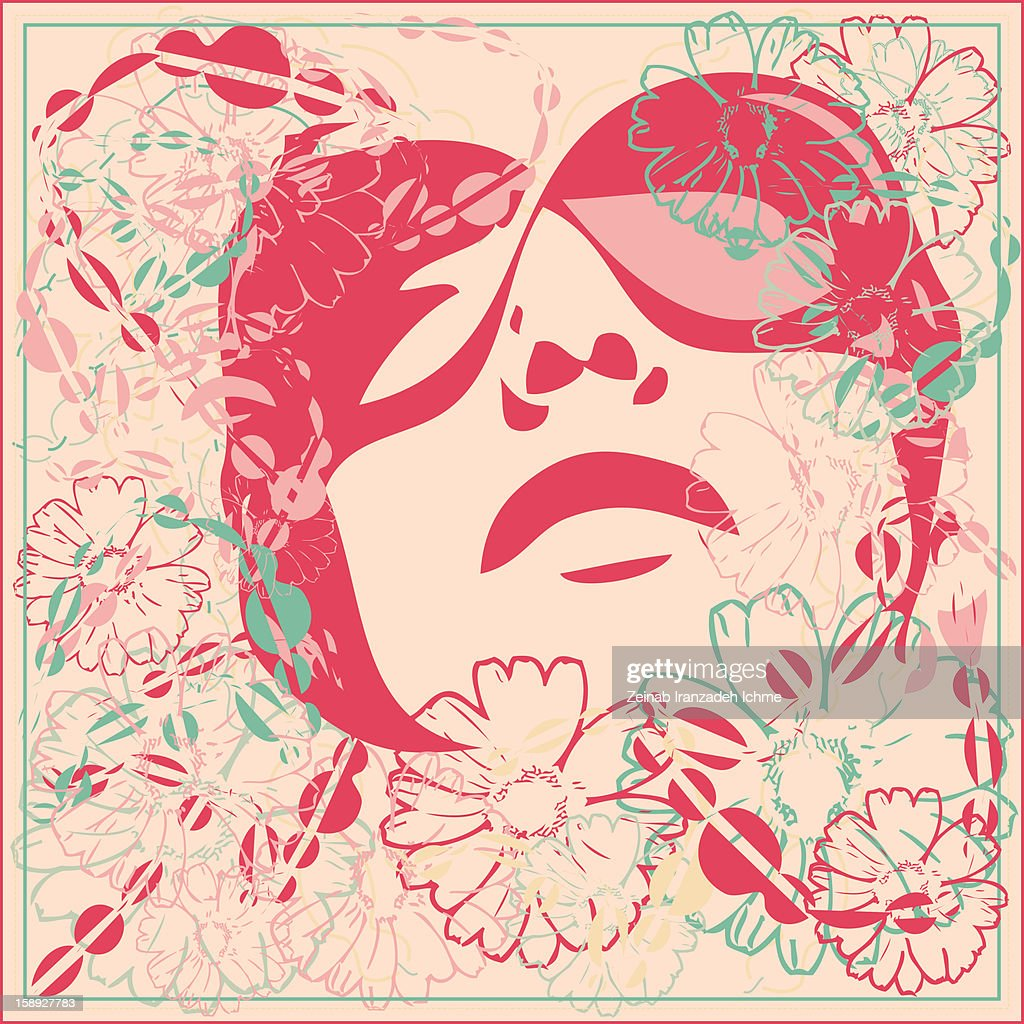 Image of a face and flowers : Stock Illustration