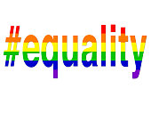 Stock photo of equality hashtag LGBT rainbow hashtag gay wallpaper background illustration as a positve celebratory abstract concept art for lesbian, gay, bisexual and transgender romance, #equality o