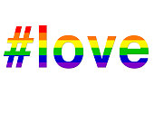 Stock photo of love hashtag LGBT rainbow hashtag gay wallpaper background illustration as a positve celebratory abstract concept art for lesbian, gay, bisexual and transgender romance, #love over LGBT