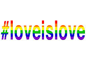 Stock photo of love is love / loveislove hashtag LGBT rainbow hashtag gay wallpaper background illustration as a positve celebratory abstract concept art for lesbian, gay, bisexual and transgender rom
