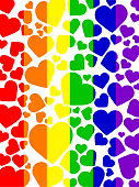 Stock photo of LGBT rainbow love hearts gay wallpaper background illustration as abstract concept art for lesbian, gay, bisexual and transgender romance, different size love hearts over LBGT rainbow f
