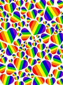 Stock photo of LGBT rainbow love hearts gay wallpaper background illustration as abstract concept art for lesbian, gay, bisexual and transgender romance, different size love hearts over LGBTQI rainbow