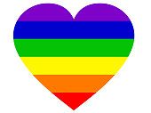 Stock photo of LGBT rainbow love hearts gay wallpaper background illustration as abstract concept art for lesbian, gay, bisexual, trans / transgender romance, large single love heart over LGBT rainbow