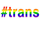 Stock photo of trans hashtag LGBT rainbow hashtag gay wallpaper background illustration as a positve celebratory abstract concept art for lesbian, gay, bisexual and transgender romance, #trans over LG