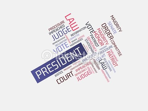 President Image With Words Associated With The Topic Impeachment