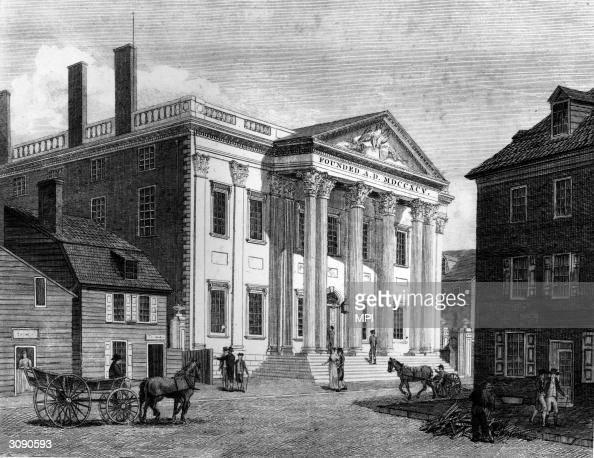 In 1791 President Washington signed a bill creating the first Bank of the United States on Third Street Philadelphia Pennsylvania Original Artwork...