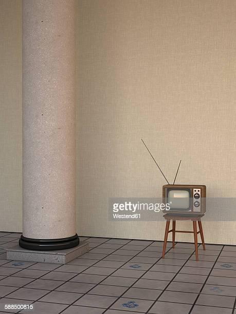 TV in retro style besides column on tiled floor, 3D Rendering