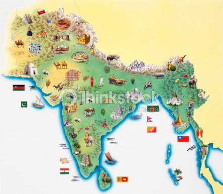 india map with illustrations showing distinguishing features