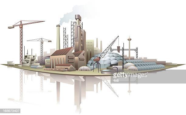 Industrial buildings at waterfront