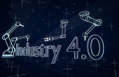 Abstract conceptual rendition of the German government's strategy 'Industrie 4.0' (Industry 4.0) of innovation for the future of manufacturing and a connected industrial sector